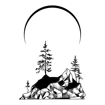 Mystic island landscape with pine trees and mountains. Vector  illustration. Çizim