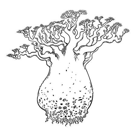 Unusual mysterious big tree. Hand drawn vector illustration.