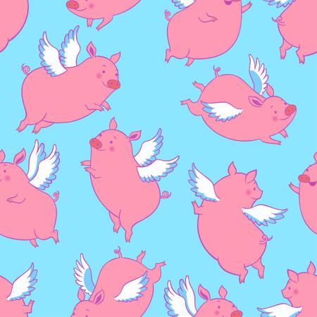 Cute flying winged piglets.Vector seamless pattern. Vektorové ilustrace