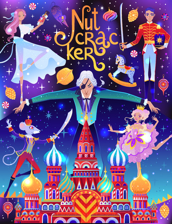 Beautiful vector illustration. Poster with characters from Nutcracker story. Cute cartoon elements from winter tale and ballet. Stock Vector - 112089356