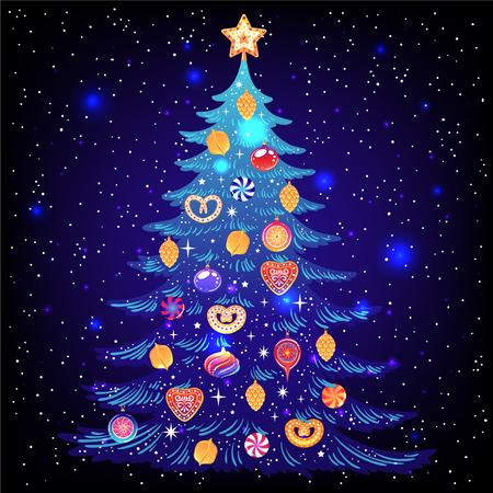 Bellissimo albero di Natale fantastico. Illustrazione vettoriale. Poster per Natale e Capodanno. Vettoriali