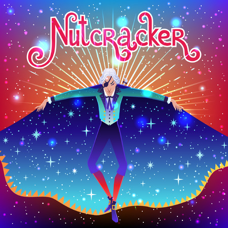 Beautiful vector illustration. Poster with Drosselmeyer from Nutcracker story. Cute cartoon elements from winter tale and ballet. Illustration