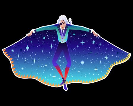 Belle illustration vectorielle. Affiche avec Drosselmeyer de l'histoire de Casse-Noisette. Éléments de dessin animé mignon de conte d'hiver et de ballet.