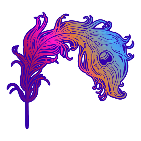 Hand drawn illustration with Fire Bird Feathers from Russian fairy tale. Vector beautiful art, tattoo and logo