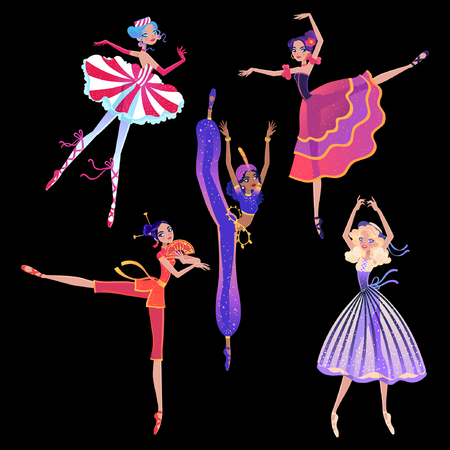 The ballerina girls. Beautiful vector illustration. Cute cartoon character from winter tale and ballet Nutcracker. Foto de archivo - 124118997