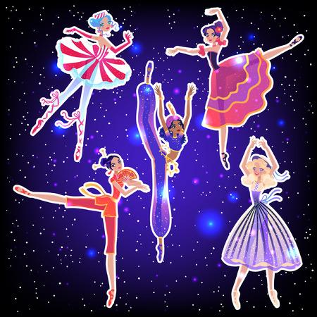The ballerina girls. Beautiful vector illustration. Cute cartoon character from winter tale and ballet Nutcracker. Foto de archivo - 124119001
