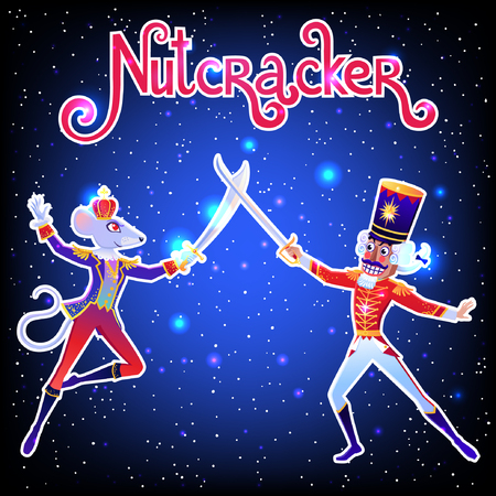 Beautiful vector illustration. Poster with  Nutcracker. Cute cartoon element from winter tale and ballet. Ilustração