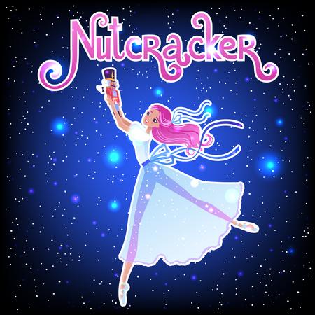 The ballerina girl. Clara and Nutkracker. Beautiful vector illustration. Cute cartoon character from winter tale and ballet Nutkracker. Foto de archivo - 124119004