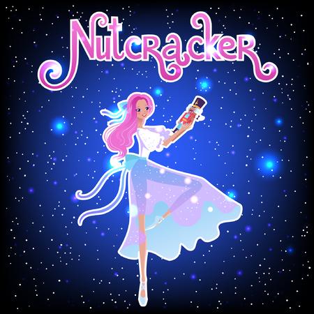 The ballerina girl. Clara and Nutkracker. Beautiful vector illustration. Cute cartoon character from winter tale and ballet Nutkracker. Foto de archivo - 124119005