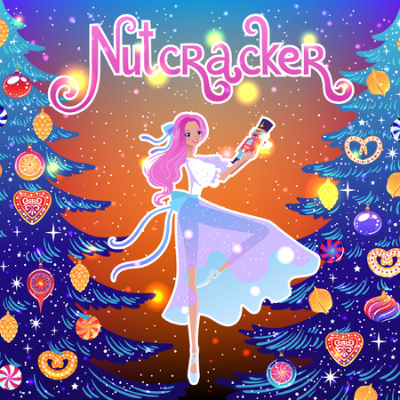 The ballerina girl. Clara and Nutkracker. Beautiful vector illustration. Cute cartoon character from winter tale and ballet Nutkracker. Foto de archivo - 124119006