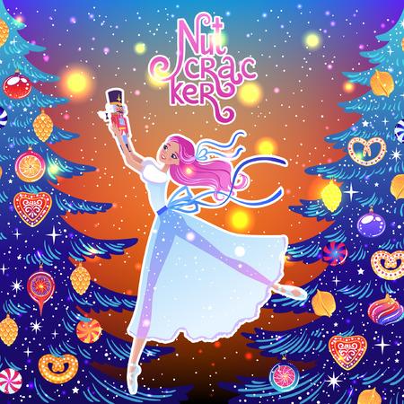 The ballerina girl. Clara and Nutkracker. Beautiful vector illustration. Cute cartoon character from winter tale and ballet Nutkracker. Foto de archivo - 124119007