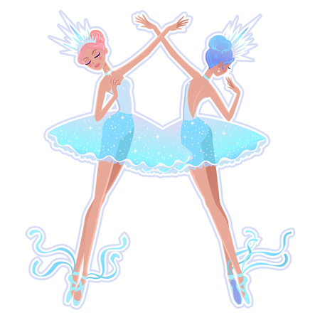 Beautiful vector illustration. The Snowflakes ballerina girls. Cute cartoon character from winter tale and ballet. Foto de archivo - 124119012