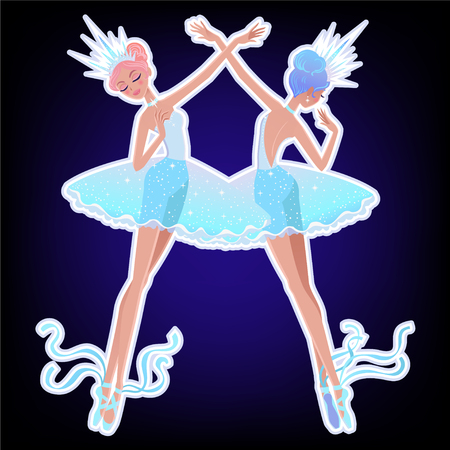 Beautiful vector illustration. The Snowflakes ballerina girls. Cute cartoon character from winter tale and ballet. Foto de archivo - 124119013