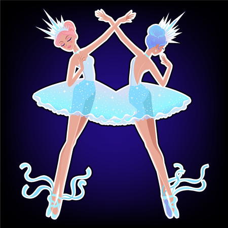 Beautiful vector illustration. The Snowflakes ballerina girls. Cute cartoon character from winter tale and ballet.
