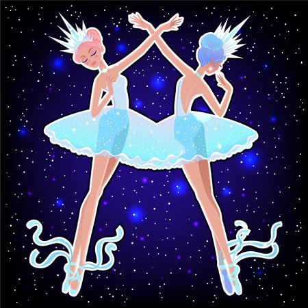 Beautiful vector illustration. The Snowflakes ballerina girls. Cute cartoon character from winter tale and ballet. Foto de archivo - 124119016