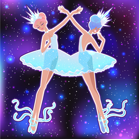 Beautiful vector illustration. The Snowflakes ballerina girls. Cute cartoon character from winter tale and ballet. Foto de archivo - 124119017
