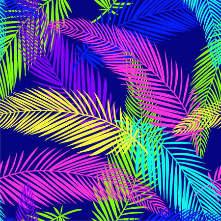 Exotic and jungle seamless pattern with tropical flowers and leaves. Vector hand drawn illustration. Ilustração Vetorial