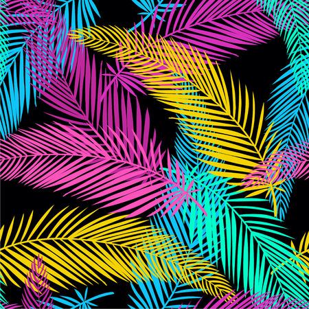 Modello senza cuciture esotico e giungla con fiori e foglie tropicali. Illustrazione disegnata a mano di vettore.