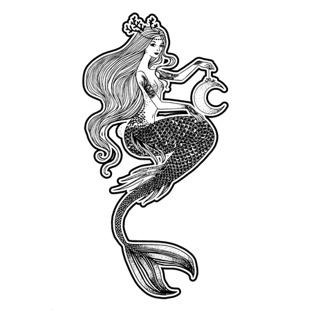 Beautiful mermaid with human skull in her hands hand drawn illustration. Sea, fantasy, spirituality, mythology, tattoo art, coloring books. Isolated vector illustration. Foto de archivo - 123613010