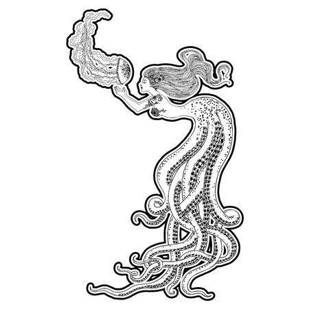 Beautiful mermaid with human skull in her hands hand drawn illustration. Sea, fantasy, spirituality, mythology, tattoo art, coloring books. Isolated vector illustration. Foto de archivo - 123613016