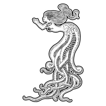 Beautiful mermaid with human skull in her hands hand drawn illustration. Sea, fantasy, spirituality, mythology, tattoo art, coloring books. Isolated vector illustration. Foto de archivo - 123613017