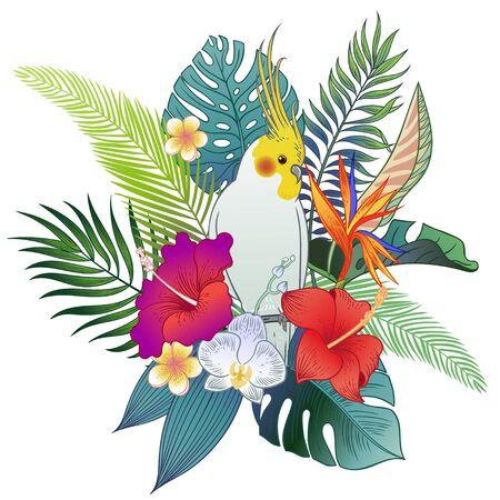 Beautiful tropical exotic parrot bird. Vector illustration. Ilustración de vector