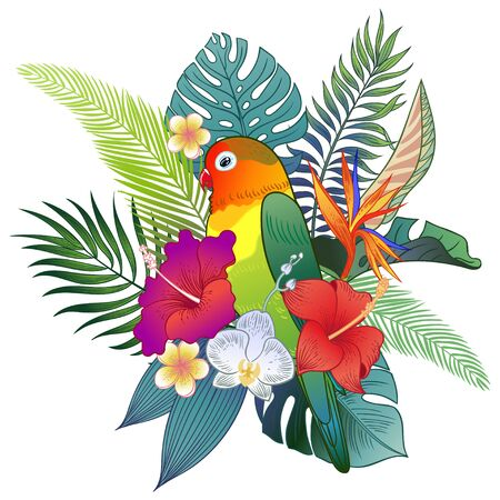 Beautiful tropical exotic parrot bird. Vector illustration. Vectores
