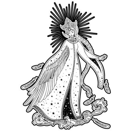 Beautiful Princess Swan. Russian folk tale. Christmas cartoon illustration. Vector illustration. Standard-Bild - 134726369