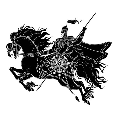 Dark Rider Horse du mythe et conte de fées slaves traditionnels. Illustration vectorielle magique. Guerrier à cheval.