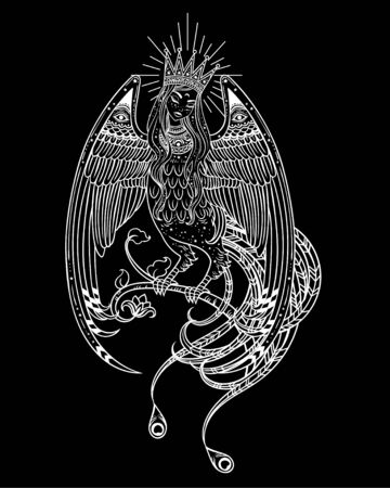 Hand drawn illustration with Beautiful Woman-headed bird. Sirin and Alkonost The Birds of Joy and Sorrow from Russian fairy tale. Vector art, perfect for tattoo, logo, cards and etc