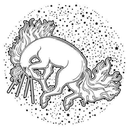 Magic Horse. Beautiful vector illustration. Myth and fairytale, perfect for tattoo, stickers, t-shirt and etc.