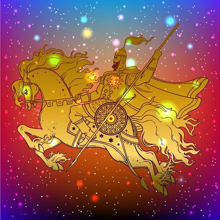 Dark Rider Horse from traditional slavic myth and fairytale. Magic vector illustration. Warrior on horse.