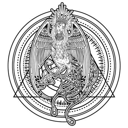 Illustration dessinée à la main avec un bel oiseau à tête de femme. Sirin et Alkonost Les oiseaux de joie et de chagrin du conte de fées russe. Art vectoriel, parfait pour le tatouage, le logo, les cartes, etc.