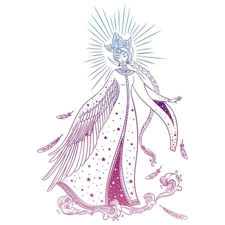 Beautiful Princess Swan. Russian folk tale. Christmas cartoon illustration. Vector illustration. Standard-Bild - 134727143