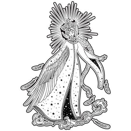 Beautiful Princess Swan. Russian folk tale. Christmas cartoon illustration. Vector illustration. Standard-Bild - 134727340