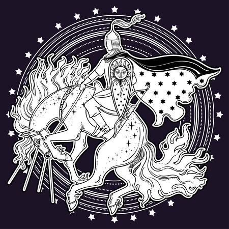 Rider Horse from traditional slavic myth and fairytale. Magic vector illustration. Warrior on horse.