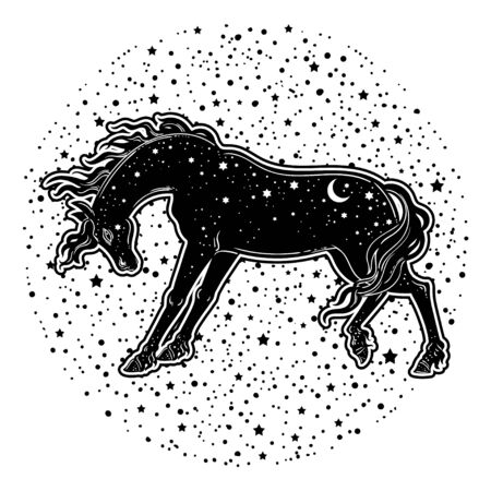 Dark Beautiful Horse. Magic vector illustration. Myth and fairytale, perfect for tattoo, stickers, t-shirt and etc.