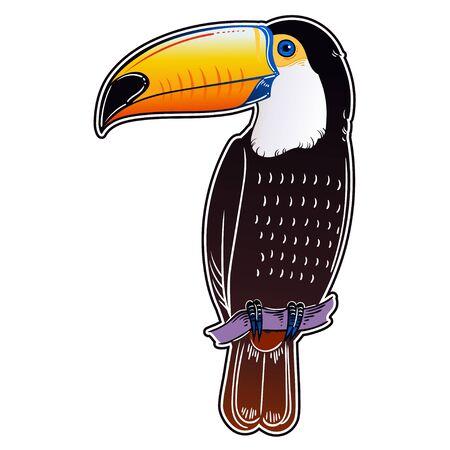 Beautiful tropical exotic bird. Toucan bird. Vector illustration. Illustration