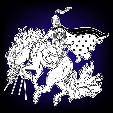 Dark Rider Horse from traditional slavic myth and fairytale. Magic vector illustration. Warrior on horse.