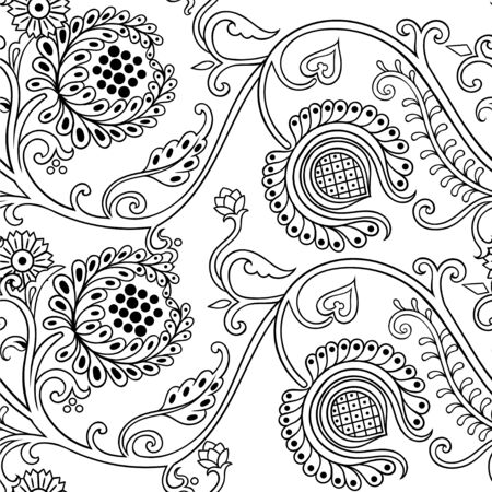 Hand drawn seamless pattern in Russian vintage style with floral elements. Vector beautiful art.