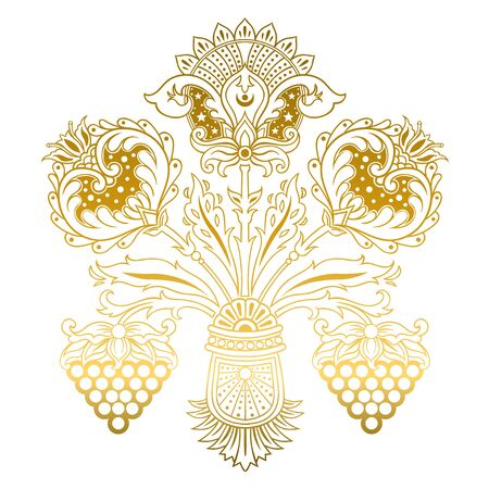 Beautiful Russian style floral vector elment for greeting cards, wrapping paper, invitations, etc. Vector illustration.