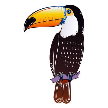 Beautiful tropical exotic bird. Toucan bird. Vector illustration. Stock Illustratie