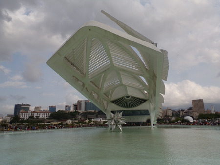 RIO DE JANEIRO, BRAZIL - JULY 18, 2016: Museum of Tomorrow designed by Spanish architect Santiago Calatrava in Maua Square. People visiting this ample area, with food, and attractions.
