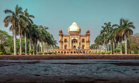 New Delhi, India - June 11,2018-Safdarjung's Tomb is a sandstone and marble mausoleum in New Delhi, India. It was built in 1754 in the late Mughal Empire style for the statesman Safdarjung.