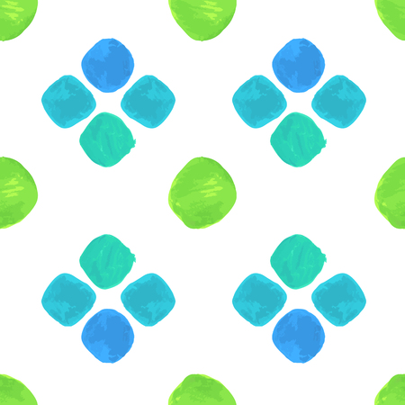 paths: Vector Watercolor Seamless Pattern With Blue and Green. Clipping paths included.