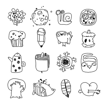 paths: Vector Icons Set of Cartoon Objects and Characters. Isolated on White. Clipping paths included.