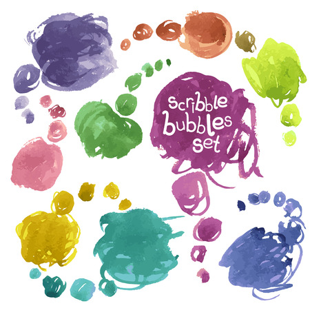 scribbles: Collection of Vector Watercolor Scribbles Bubbles. Isolated on White. Clipping paths included.