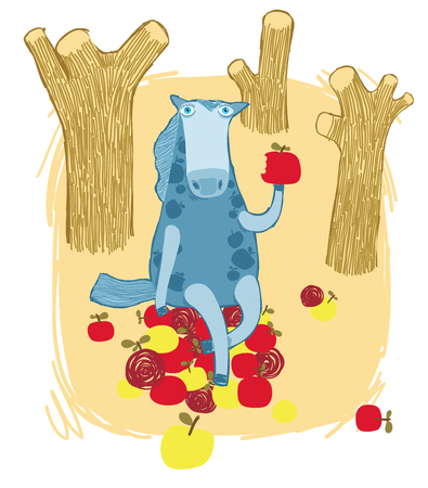 autumn garden: Horse Eating an Apple in the Autumn Garden Illustration
