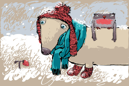 no snow: Little Duchshund with  Bullfinch and Strawberry Under the Snow. Illustration in sketch style. No effects, no gradients.