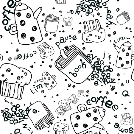 muffins: Vector Seamless Linear Pattern with Coffee Pots, Muffins and Books. Isolated on White. Illustration